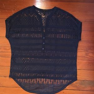 (BCBG) Navy lace top